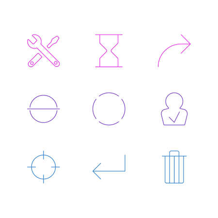 Vector illustration of 9 user icons line style. Editable set of minus, reload, sand clock icon elements. 일러스트