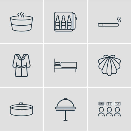Vector illustration of 9 vacation icons line style. Editable set of hotel delivery, smoking, seashell and other icon elements.