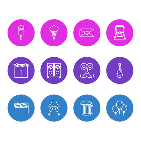illustration of 12 feast icons line style. Editable set of beer, loudspeaker, ice cream and other icon elements.