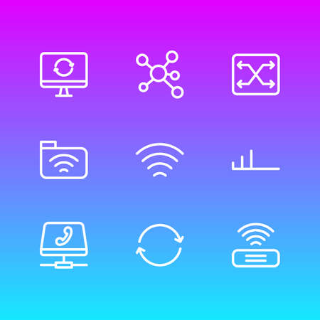 Vector illustration of 9 network icons line style. Editable set of share, folder, switch and other icon elements.