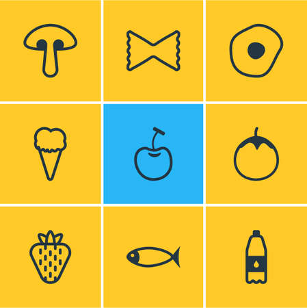 illustration of 9 eating icons line style. Editable set of love apple, fish, cherry and other icon elements.