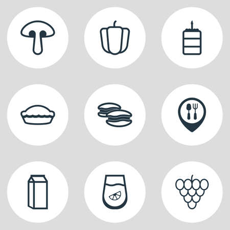 Vector illustration of 9 food icons line style. Editable set of pie, birthday cake, bell pepper and other icon elements. Illustration