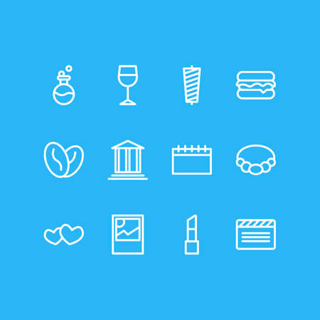 illustration of 12 lifestyle icons line style. Editable set of lipstick, heart, burger and other icon elements. Banque d'images