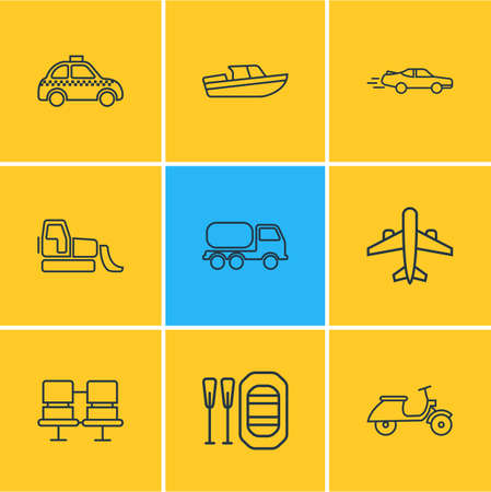 Vector illustration of 9 transportation icons line style. Editable set of scooter, passenger seats, tank truck and other icon elements.