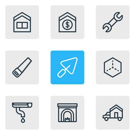 Vektorillustration von 9 Architekturikonen-Linienstil. Bearbeitbarer Satz Schraubenschlüssel, Haus, Dachrinne und andere Symbolelemente verkaufen.