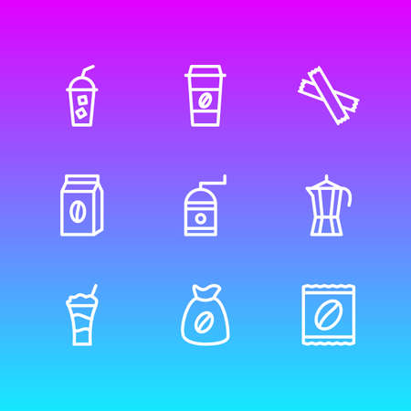 Vector illustration of 9 java icons line style. Editable set of pack, percolator, cold drink and other icon elements.