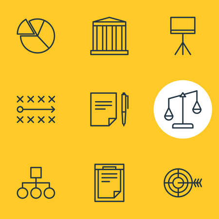 Vector illustration of 9 business icons line style. Editable set of target, document, bank and other icon elements.