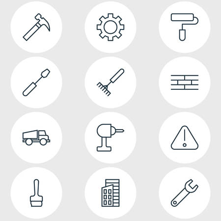 Vector illustration of 12 industry icons line style. Editable set of rake, gear, building and other icon elements. Çizim
