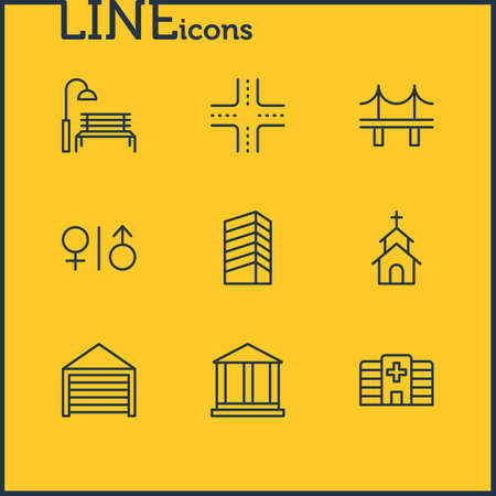 illustration of 9 infrastructure icons line style. Editable set of church, crossroad, wc and other icon elements.