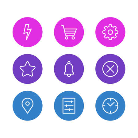 illustration of 9 app icons line style. Editable set of setting, close, star and other icon elements. 版權商用圖片
