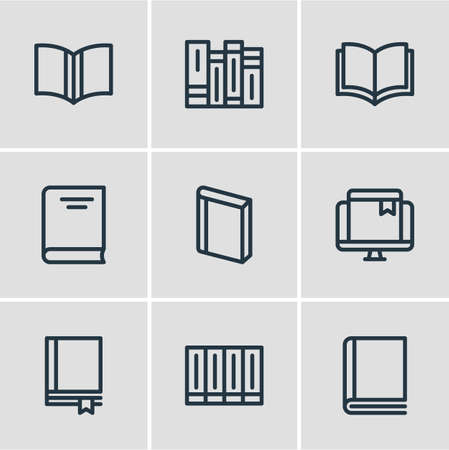 illustration of 9 education icons line style. Editable set of education, publishing, encyclopedia and other icon elements.