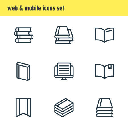 illustration of 9 book icons line style. Editable set of banner, publish, document and other icon elements. Stock Photo