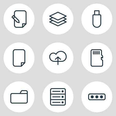 illustration of 9 memory icons line style. Editable set of cloud, category, document and other icon elements.