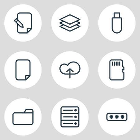 illustration du style de ligne 9 icônes de mémoire. Ensemble modifiable de nuage, catégorie, document et autres éléments d'icône.