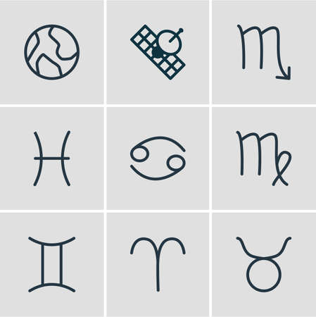 Vector illustration of 9 constellation icons line style. Editable set of cancer, earth, virgo and other icon elements. Stock Illustratie