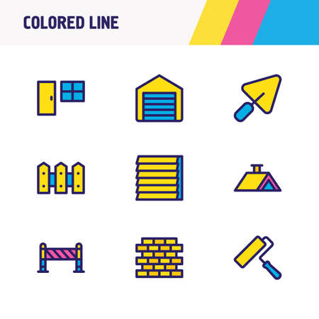 Vector illustration of 9 construction icons colored line. Editable set of roof, barrier, fence and other icon elements. Illusztráció