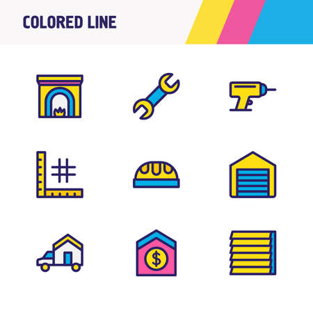 Vector illustration of 9 construction icons colored line. Editable set of planning, worker hat, fireplace and other icon elements.