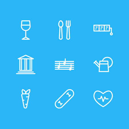 Vector illustration of 9 lifestyle icons line style. Editable set of watering can, kitchenware, melody and other icon elements.