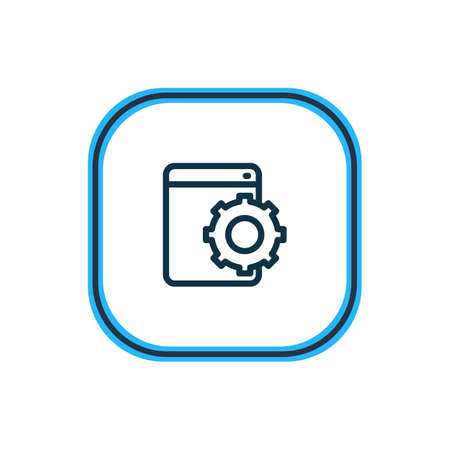 Vector illustration of web development service icon line. Beautiful advertising element also can be used as configuration icon element.