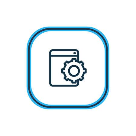 Vektor-Illustration der Web-Entwicklungsdienst-Symbollinie. Schönes Werbeelement kann auch als Konfigurationssymbol verwendet werden.
