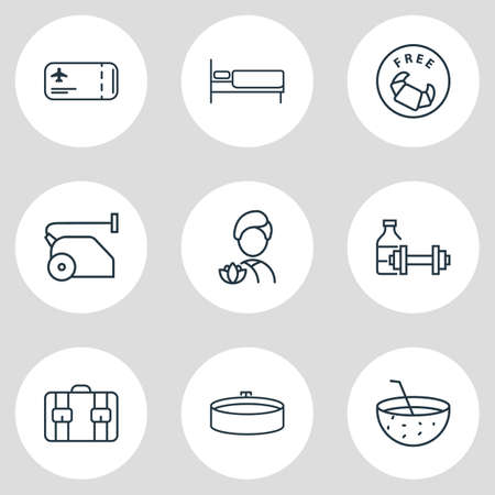 Vector illustration of 9 hotel icons line style. Editable set of vacuum cleaner, suitcase, free breakfast and other icon elements. Иллюстрация