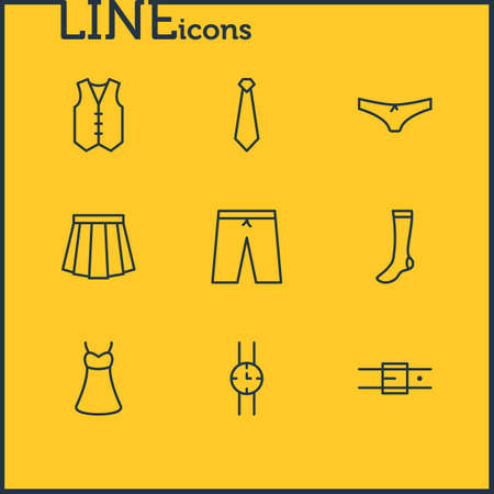 illustration of 9 clothes icons line style. Editable set of watch, underwear, vest and other icon elements. Banque d'images