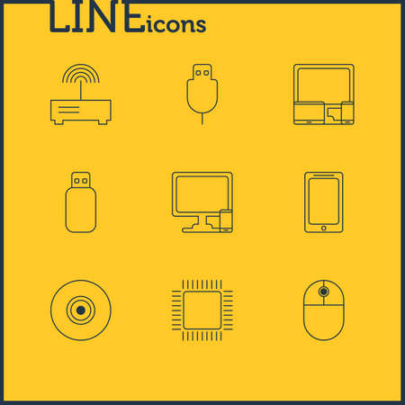 illustration of 9 laptop icons line style. Editable set of usb cable, camera lens, modem and other icon elements.