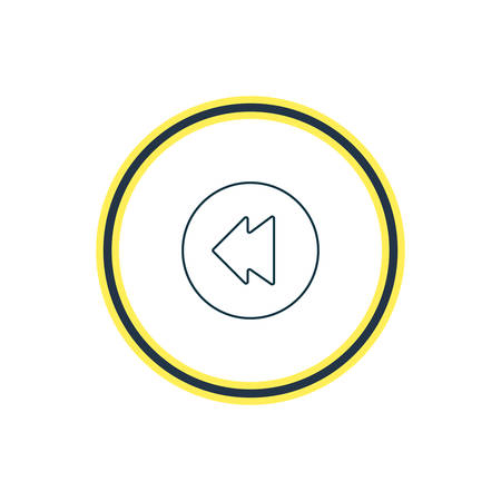Vector illustration of backward icon line. Beautiful melody element also can be used as reversing icon element.