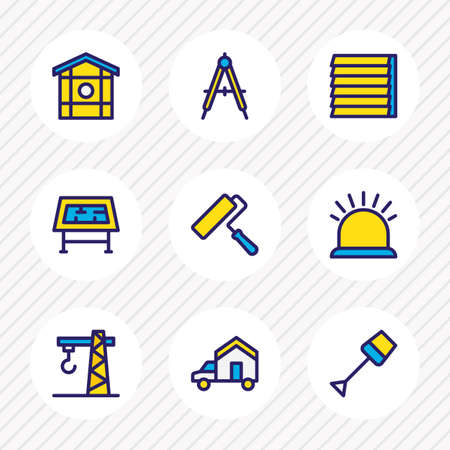 Vector illustration of 9 architecture icons colored line. Editable set of drawing table, crane, framing and other icon elements.