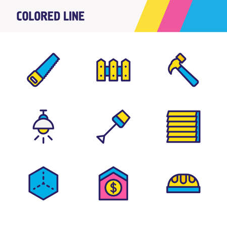 Vector illustration of 9 construction icons colored line. Editable set of spade, hammer, window siding and other icon elements.