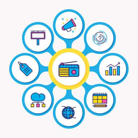 Ilustración de vector de línea de color de los iconos de marketing 9. Conjunto editable de anuncios al aire libre, publicidad, globo y otros elementos de icono.