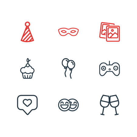 Vector illustration of 9 celebration icons line style. Editable set of pics, game controller, masquerade and other icon elements. Ilustração