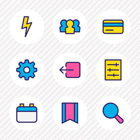 Vector illustration of 9 app icons colored line. Editable set of setting, credit card, search and other icon elements.