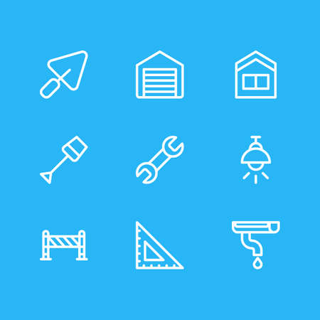 Vector illustration of 9 architecture icons line style. Editable set of shovel, lamp, gutter and other icon elements. Vektorgrafik