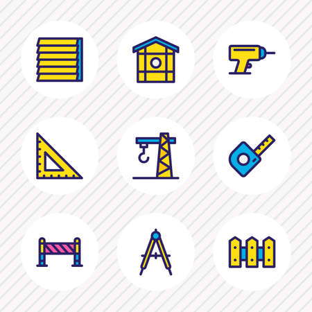 Vector illustration of 9 construction icons colored line. Editable set of compass, fence, window siding and other icon elements.