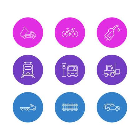 Illustrazione vettoriale di 9 stile di linea di icone di trasporto. Insieme modificabile di carrello elevatore, camion a pianale, ferrovia e altri elementi dell'icona. Vettoriali