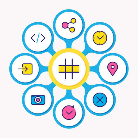 illustration of 9 annex icons colored line. Editable set of sign in, social, location and other icon elements. 版權商用圖片