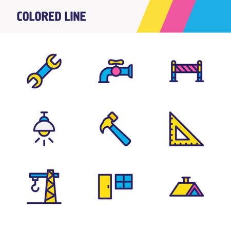 Vector illustration of 9 industry icons colored line. Editable set of wrench, crane, ruler and other icon elements. Illustration