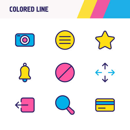 Vector illustration of 9 annex icons colored line. Editable set of camera, ban, credit card and other icon elements.