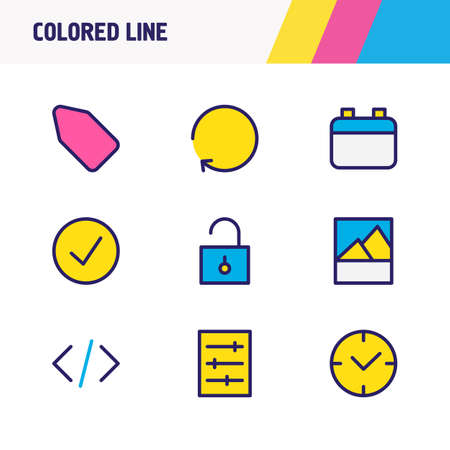 illustration of 9 app icons colored line. Editable set of time, code, refresh and other icon elements.