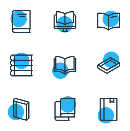 illustration of 9 read icons line style. Editable set of book, ebook, notepad and other icon elements.