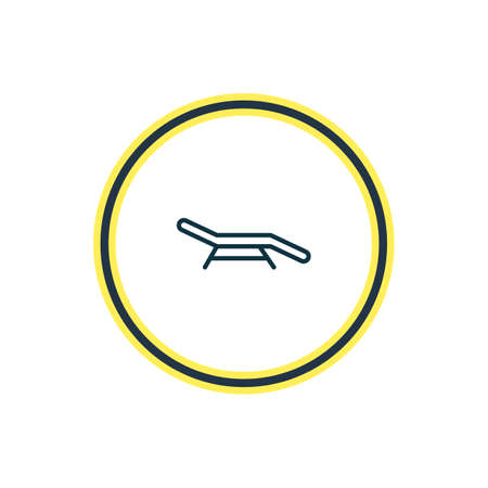 illustration of beach bench icon line. Beautiful summer element also can be used as longue icon element.
