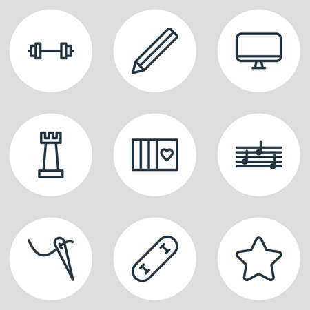 Vector illustration of 9 lifestyle icons line style. Editable set of melody, barbell, graphite and other icon elements. Иллюстрация