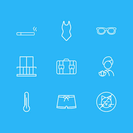 Vector illustration of 9 hotel icons line style. Editable set of spa, swimsuit, thermometer and other icon elements. Ilustra��o