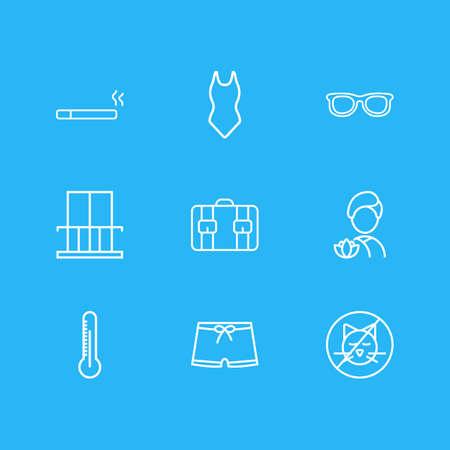 Vektor-Illustration von 9 Hotelsymbolen Linienstil. Bearbeitbarer Satz von Spa, Badeanzug, Thermometer und anderen Symbolelementen.