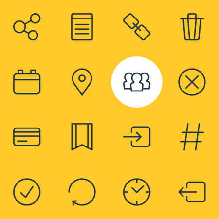 Vector illustration of 16 annex icons line style. Editable set of check, trash can, sign out and other icon elements.