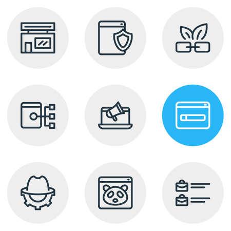 Vector illustration of 9 advertisement icons line style. Editable set of online branding, panda, domain registration icon elements. Illustration