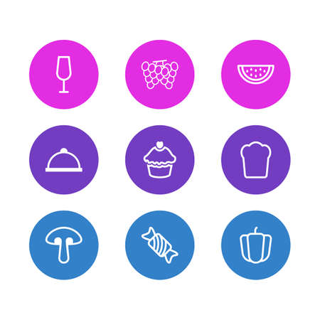 Vector illustration of 9 food icons line style. Editable set of grape, meal, watermelon and other icon elements.