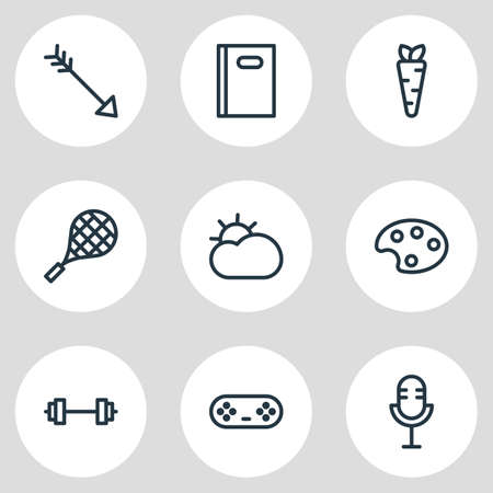 Vector illustration of 9 entertainment icons line style. Editable set of game controller, arrow, book and other icon elements.