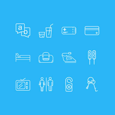 Vector illustration of 12 tourism icons line style. Editable set of tv, iron, drink and other icon elements.